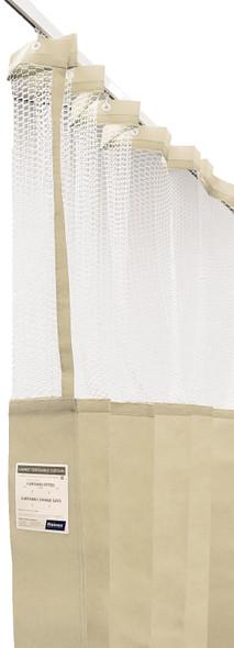 Disposable Curtain 7.5m x 2.3m - Mesh. Antimicrobial and fire retardant. 120 gsm. Length 7.5m, Drop 2.3m  - Cream - Box/5