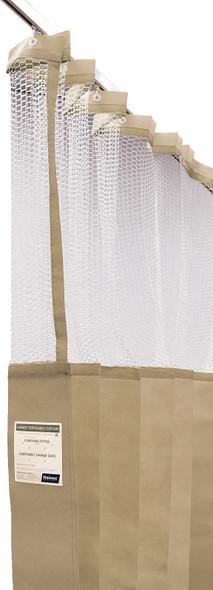 Disposable Curtain 7.5m x 2.3m - Mesh. Antimicrobial and fire retardant. 120 gsm. Length 7.5m, Drop 2.3m  - Latte - Box/5