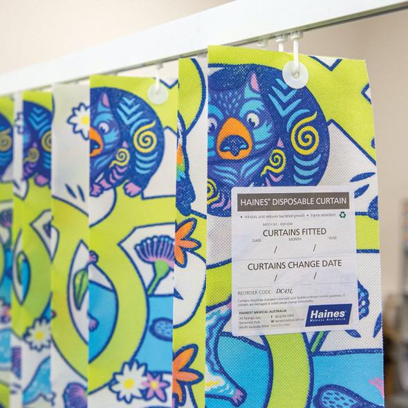 Disposable Curtain 4.5m x 2m. Antimicrobial and fire retardant. 120 gsm. Paediatric - Aussie Animals Length 4.5m, Drop 2.0m  - Aussie Animals - Box/8