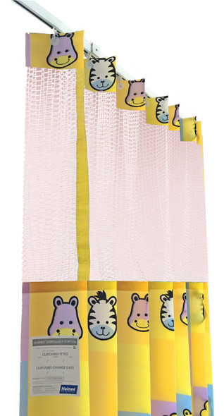Disposable Curtain 7.5m x 2.3m - Mesh. Antimicrobial and fire retardant. 120 gsm. Paediatric - Safari Print Length 7.5m, Drop 2.3m  - Safari - Box/5