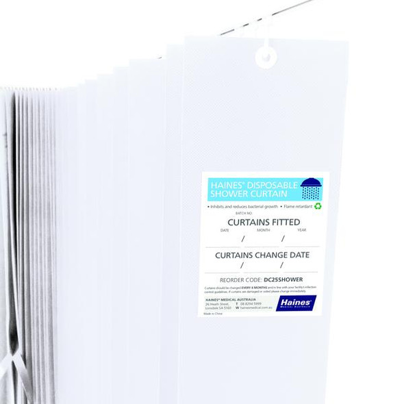 Disposable Shower Curtain 2.5m x 1.8m White. Antimicrobial and fire retardant. 120 gsm. Length 2.5m, Drop 1.8m  - White - Box/15