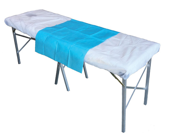 Disposable Small Flat Sheet.  PP 40gsm. 100cm x 70cm  - Light Blue - Box/200