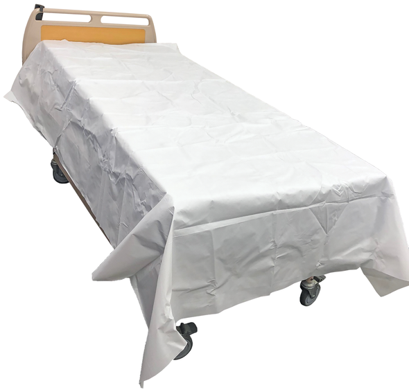 Disposable Waterproof Flat Sheet. Absorbent top layer with waterproof bottom layer 300cm x 156cm  - White - Box/25