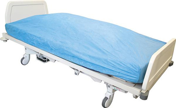 """Disposable Single Bed Fitted """"Cover"""" Sheet - elastic sewn all around.   PP 40gsm. 210cm x 90cm x 20cm deep  - White - Box/100"""