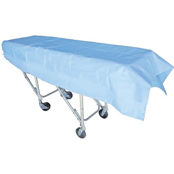 Disposable Heavy Duty Flat Sheet.  PP 70gsm. 220cm x 100cm  - Light Blue - Box/100