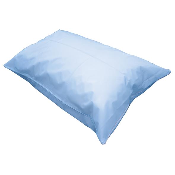 Pillow Case Heavy Duty PVC Mackintosh with Zip  75cm x 50cm  - Light Blue - Each