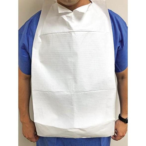 Disposable Adult Bib. 3 ply: 2 ply paper & 1 PE waterproof layer 70cm long x 37cm width  - White - Box/700
