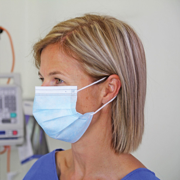 Elastic Loop Mask  (Box 1000 with 20 inner boxes of 50 masks) - Level 3   - Light Blue - Box/1000