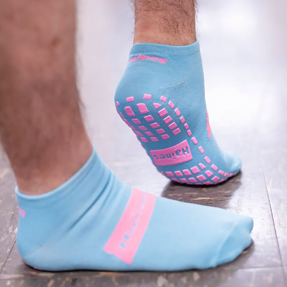 SallySock Non-Slip Patient Socks - Bariatric.  Sock Size - 26cmL x 11cmW. Stretches up to 30cm at the Calf. Purple Grips.   26cmL x 11cmW  - Light Blue - Box 50 Pairs
