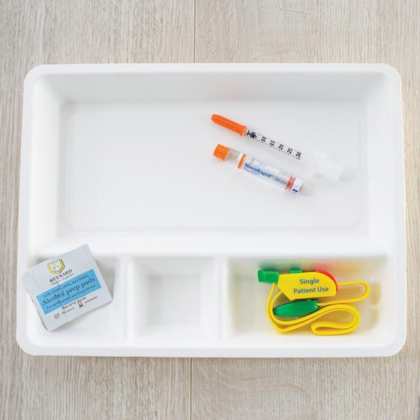 Compostable Anaesthetic Tray. 4 compartment.  Box of 250 4 compartment  - White - Box/250
