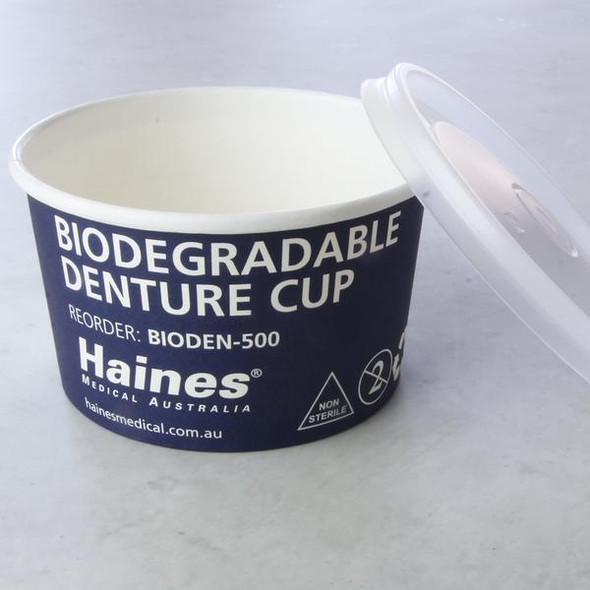 Biodegradable Denture Cup with Lid. 300mL. Box of 500 300mL  - Blue - Box/500