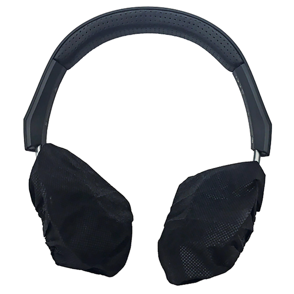 Disposable Premium Headphone Covers.  36gsm PP.  Black 12cm diameter with flat elastic  - Black - Box/1000