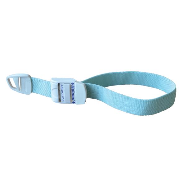 Reusable Tourniquet with white plastic clip for adjustment 43cm x 2.5cm  - Light Aqua - Box/25