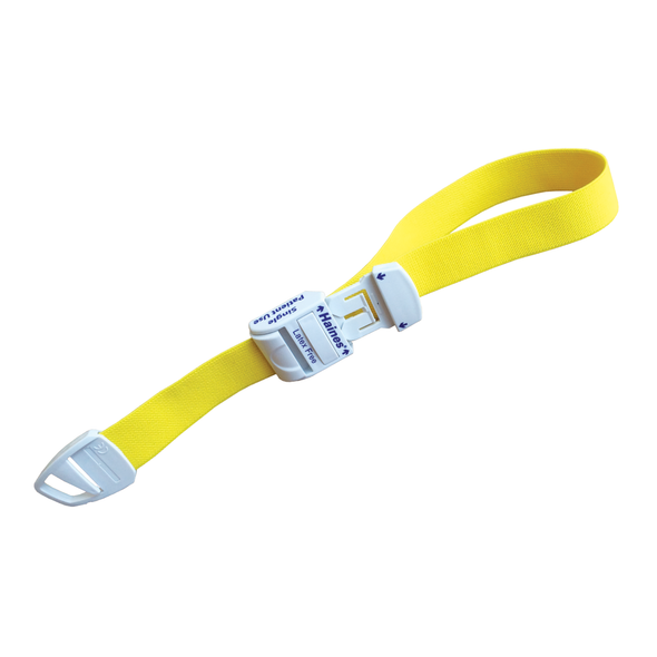 Single Patient Use Tourniquet with white plastic clip for adj. Ctn of 500 with 20 inner boxes of 25 pcs 43cm x 2.5cm  - Yellow - Ctn/500