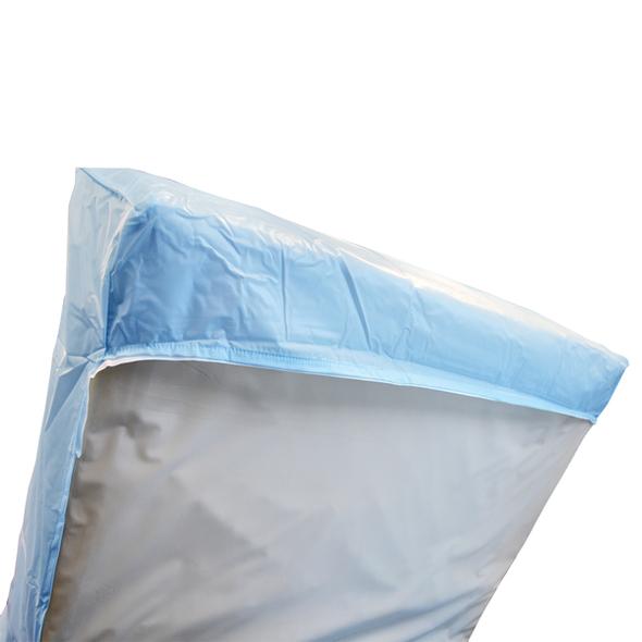 Boxed Ends PVC Mattress Cover.  Queen Bed 203cm x 152cm x 15cm  - Light Blue - Each