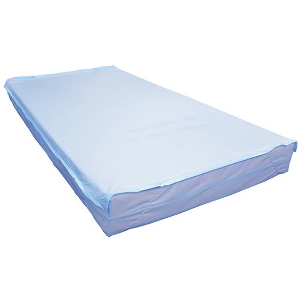 Cot PVC Mattress Cover with zip.  Fits mattress length 127cm-131cm and height 10-13cm 128cm x 69cm x 12cm  - Light Blue - Each