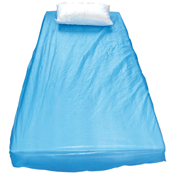 Disposable Waterproof Mattress Cover with elastic.  Single bed  (10-20cm deep). CPE material 190cm x 90cm  - Blue - Box/100