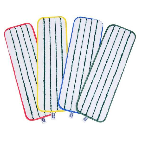 Reusable Mop Head Small - Green Edging 25cm x 12cm  - White - Box/50