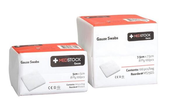 Medstock Gauze Swabs 5cm / 7.5cm 8 Ply 100Pcs/box