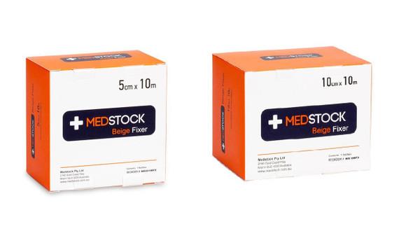 Medstock Fabric Roll Fixer Beige- one box - sizes: 5cm / 10cm x 10m