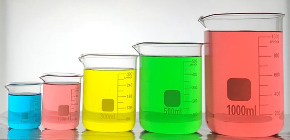 Borosilicate Glass Low Form Beakers Autoclavable, Graduated With Spout - sizes: 50ml - 5000ml