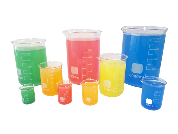 Glass Beakers, LOW FORM Beakers Autoclavable, Heat Resistance Graduated With Spout - Borosilicate Glass sizes: 50ml, 100ml, 150ml, 250ml, 400ml, 500ml, 1000ml, 2000ml, 3000ml, 5000ml