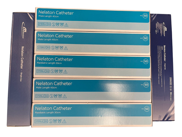Mdevices Standard Nelaton Catheter Sterile Single-use _ 4Fr, 8Fr, 10Fr, 12Fr, 14Fr, 16Fr, 18Fr, 20Fr _ Male/ Female/ Paediatric _ 50pcs/Box