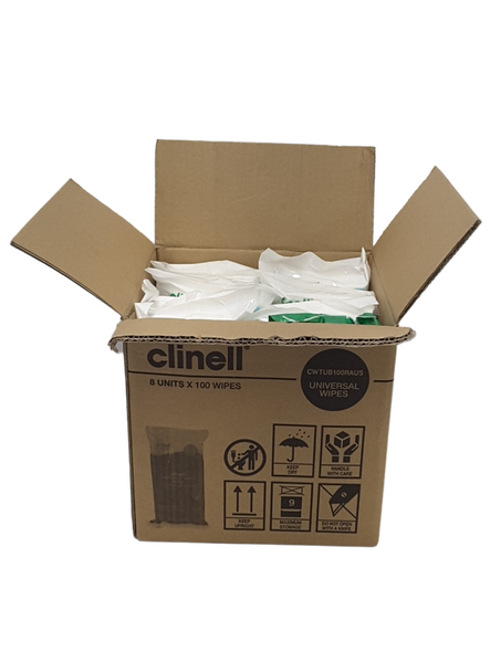 Clinell Universal Wipes Refill Packet of 100 (CWTUB100RAUS) - 8packs/ctn