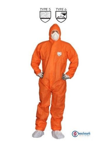 ORANGE SMS COVERALL TYPE 5/6, Protective against Liquid Chemical, 100% PPE, 50 pcs