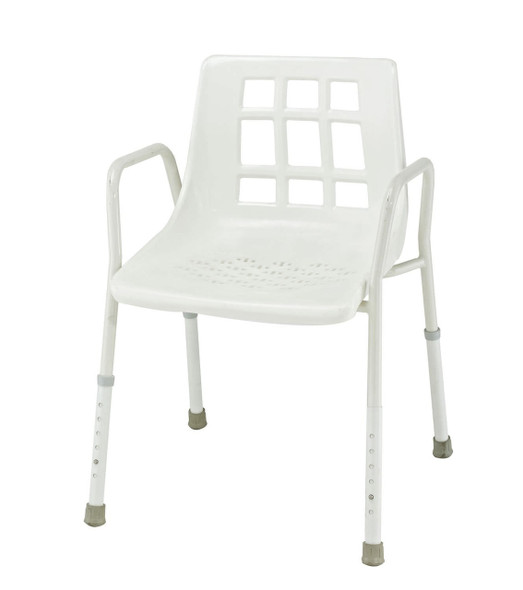 SHOWER SEAT WITH ARMS & ADJUSTABLE LEGS PLASTIC