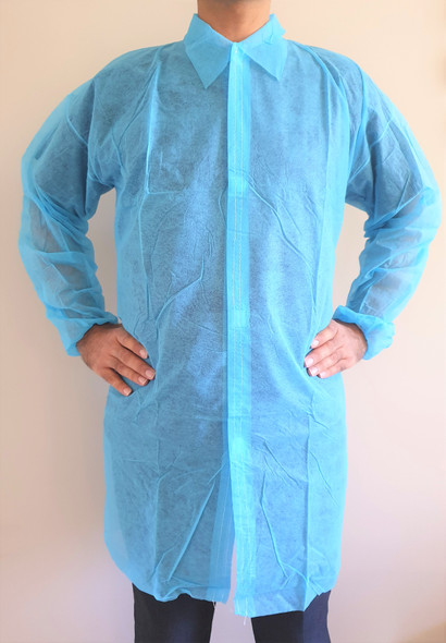 Disposable Lab Coat, Medical Dental Laboratory Veterinary Isolation Cover Gown, BLUE  100 pc/pkt