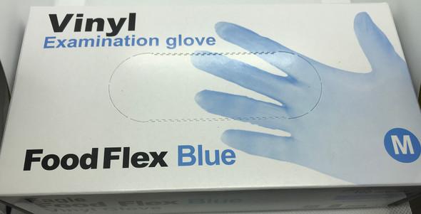 Vinyl Examination Gloves Blue, Medium, Powder Free Non-Sterile, 100pcs/box