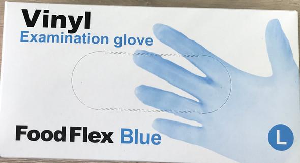 Vinyl Examination Gloves Blue, Large, Powder Free Non-Steril