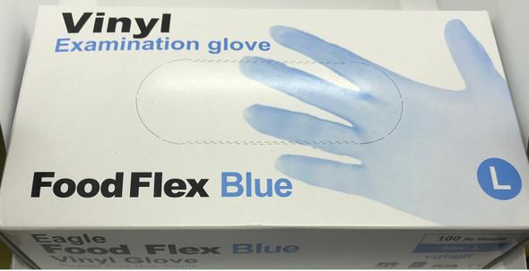Vinyl Examination Gloves Blue, Large, Powder Free Non-Sterile, 100pcs/box