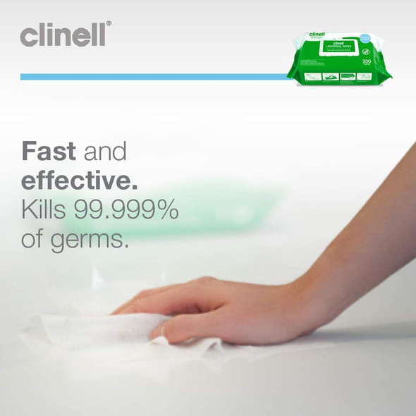 Clinell Universal Sanitising Wipes, 25cm x 25cm Green (Pack of 200) - CW200AUS