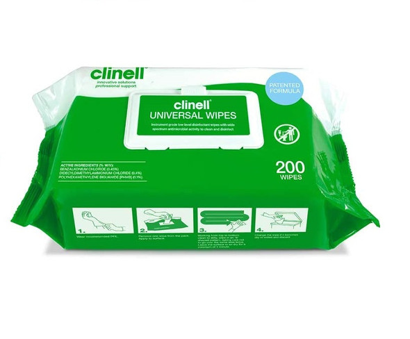 Clinell Universal Sanitising Wipes, 25cm x 25cm Green (Pack