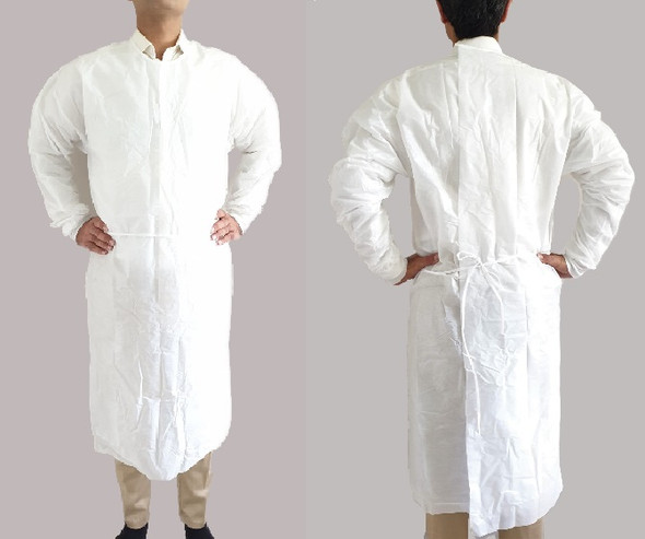 100pcs, White Impervious Isolation gown, LEVEL 2,  knit cuff
