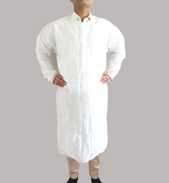 100pcs, White Impervious Isolation gown, LEVEL 2,  knit cuff, Medical Dental  Veterinary Isolation Cover Gown