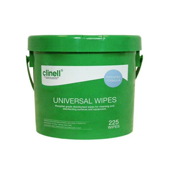 Clinell Universal Sanitising Wipes, All surfaces & Safe on Hands, 25cm x 25cm Bucket of 225 - CWBUC225AUS - 4 Buckets/ctn