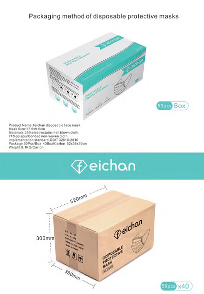 3Ply Blue Disposable Face Mask Ear Loop,  50 pcs/box, 40 Box