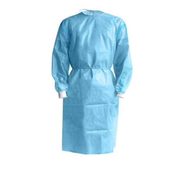 100 Pcs, LEVEL 3 Isolation Cover Gown Blue, Knit cuff, Dental, Medical, 40 GSM, TGA Approved, Individually Packed, Waterproof