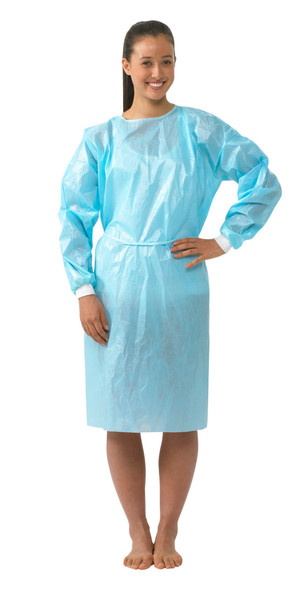 160 Pcs, LEVEL 2 Impervious Isolation Cover Gown Blue, Knit
