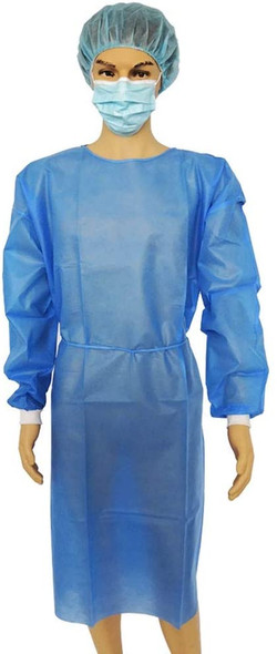 Gown LEVEL 2 Impervious Isolation Cover Gown Blue, Knit cuff, Dental, Medical, 45 GSM, TGA Registered,  Waterproof, 100pc/box