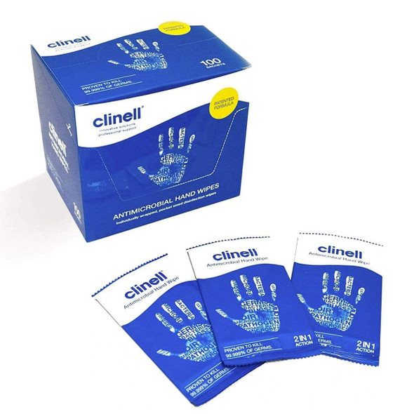 Clinell Antibacterial Hand Wipes 100 pcs - Blue Individually
