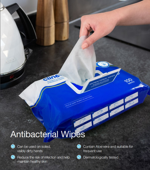 Clinell Antibacterial Wipes, 26 X18 Cm Blue, 100pc/pkt