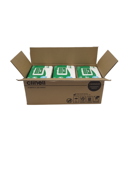 6 packs - Clinell Universal Sanitising Wipes, 25cm x 25cm Green (Pack of 200) - CW200AUS