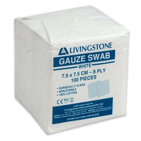 Gauze Swabs, 7.5 x 7.5 cm x 8 Ply, White, 100 Percent Cotton