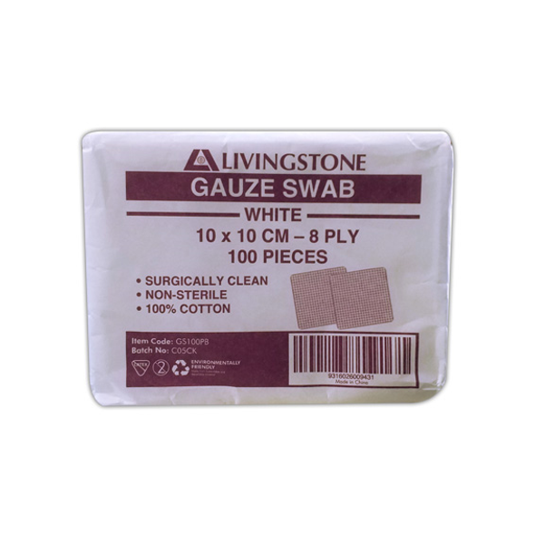 Gauze Swabs, 10 x 10 cm x 8 Ply, White, 100 Percent Cotton,