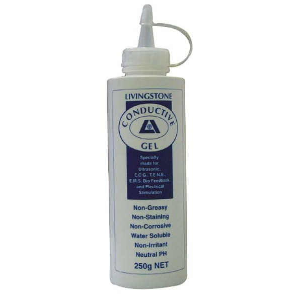 Livingstone Conductive Lubricating Clear Gel for Ultrasound and ECG Electrocardiogram, 250ml in Easy Squeeze Bottle