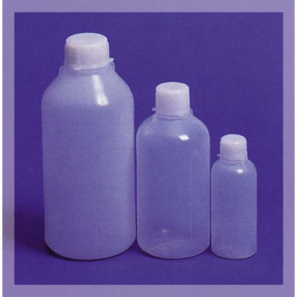 Aptaca Cylindrical Bottle, Recyclable PE, Narrow Neck, with Inner Cap, Graduated, 125ml, 46mm Bottle D x 107mm H x 18.5mm Mouth D, Each